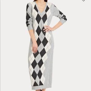 NWT Ralph Lauren Argyle Sweater Dress - M